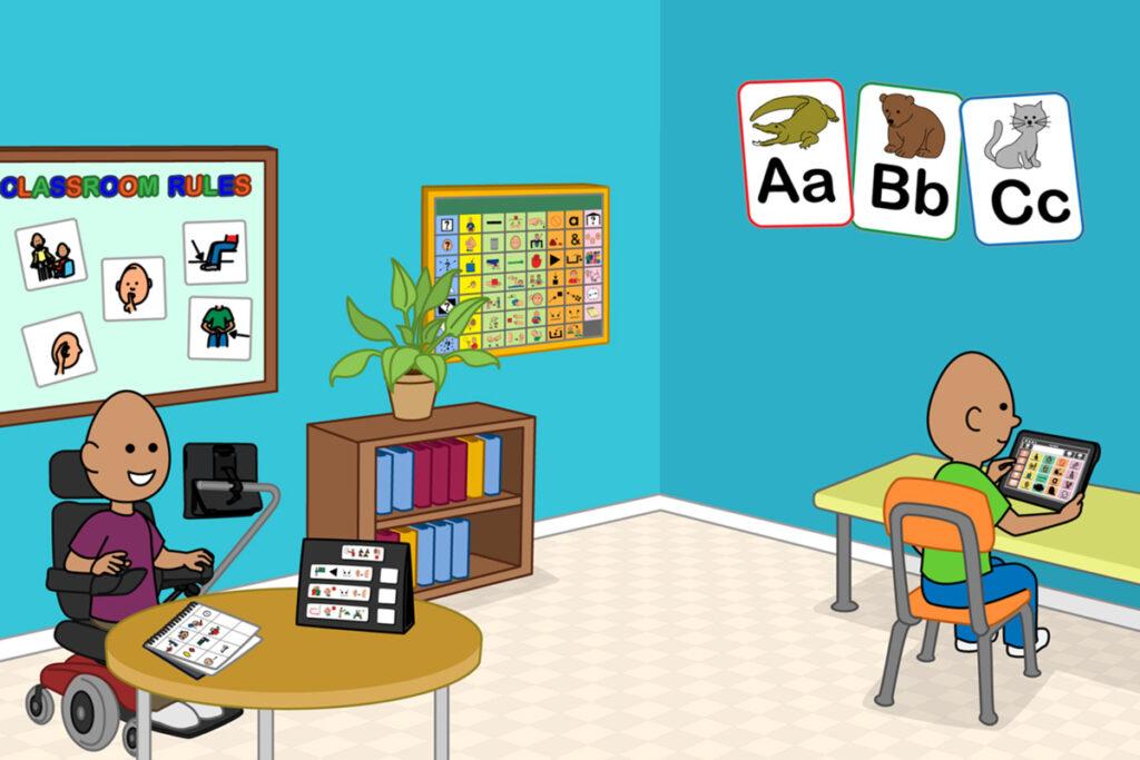 ilustração do Boardmaker de 2 alunos em uma sala de aula