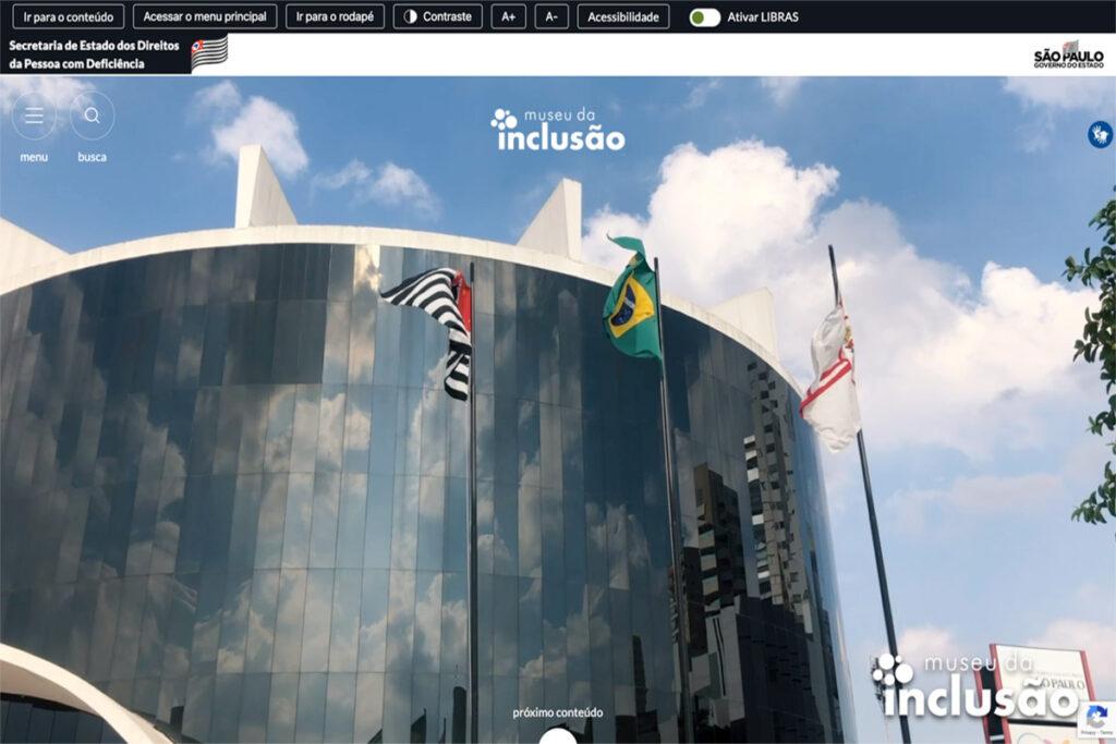 foto do novo site/portal do museu da inclusão, mostrando vários recursos de acessibilidade.